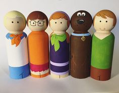 Scooby Doo Inspired Peg Dolls -- Wooden Peg Toys