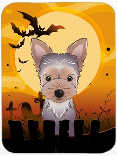 Halloween Yorkie Puppy Mouse Pad - Hot Pad or Trivet BB1790MP #artwork #artworks