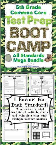 5th Grade Math Test Prep Boot Camp - Help your students get ready for testing with this boot camp themed pack! It is aligned to the 5th grade Common Core Standards. There are multiple choice, short answer, and longer extended performance tasks. You can pick from traditional multiple choice or multiple selection (multiple choice questions with one or more correct answer choices). Wow! $