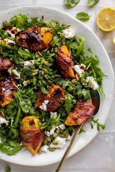 These grilled prosciutto wrapped peaches are perfectly sweet and savory! Serve over a bed of lemon arugula with goat cheese and pepitas. Grilling Recipes, Lunch Recipes, Pasta Recipes, Salad Recipes, Healthy Recipes, Summer Recipes, Healthy Meals, Healthy Eating, Easy Crepe Recipe