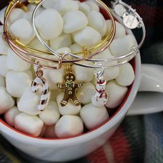 ALEX AND ANI CHARITY BY DESIGN Collection    Snowman Charm Bangle Toys For Tots   Candy Cane Charm Bangle Give Kids The World Village   Gingerbread Man Charm Bangle Blessings In A Backpack