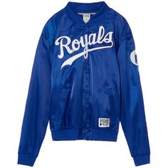 PINK Kansas City Royals Satin Bomber (1,690 MXN) ❤ liked on Polyvore featuring outerwear, jackets, blue, blue jackets, blue satin jacket, satin jackets, bomber style jacket and blue bomber jacket
