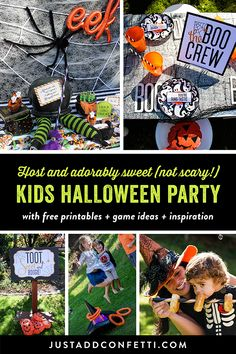 No tricks, only treats at this kids Halloween party! From the whoopee cushion musical chairs, to our candy witch...it was a blast! Check out all of the fun ideas and games and grab all the free printables! #halloween #kidshalloween #justaddconfetti