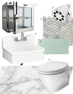 """Apartment Therapy - Regina's Lab-Like Loo. """"...my dream bathroom would be a cool, clean, almost clinical space. Not a lot of color, texture, or pattern. Rather; no-nonsense, spare design that's easy to clean and a respite for the senses at the start or end of a busy day."""""""