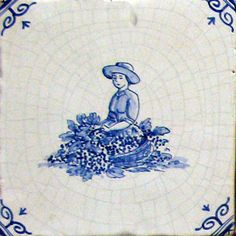 Delft Tiles featuring figures from the Douglas Watson Studio. Delft Tiles, Blue Tiles, Tile Art, Tile Painting, Slab Ceramics, Antique Tiles, Watercolour Tutorials, Blue China, Woman Painting