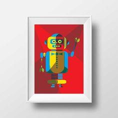 Affiche Robot Rétro - Poster Vintage Enfant Rouge Illustration Moderne Espace Tirage Art Digital Chambre Enfant Décoration Murale