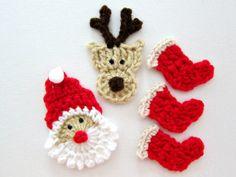 5pcs Crochet CHRISTMAS Mix Applique / by PinkMeStudio on Etsy, $8.50