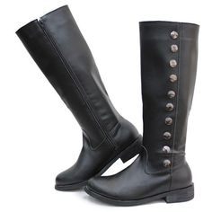 Black Leather Over the Knee Military SWAT Dress Riding Boots for Men SKU-1280317