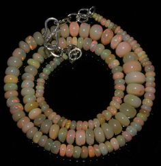 """67 Crts 1 Strandd 3 to 8 mm 16"""" Beads necklace Ethiopian Welo Fire Opal  50917"""
