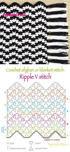 #Crochet: afghan or blanket stitch! Ripple V stitch pattern or chart :): | CROCHET | Pinterest | Puntadas, Patrones y Mantas