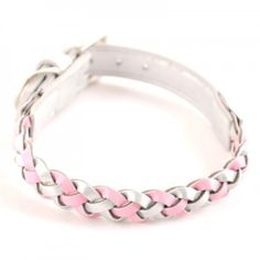 Interlaced dog collar, synthetic leather & adjustable buckle metal hardware. #dogproducts #dog #pinkcollar http://BeesCorner.com/woven-pink-collar/