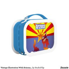 Vintage Illustration With Arizona State Flag Lunch Box