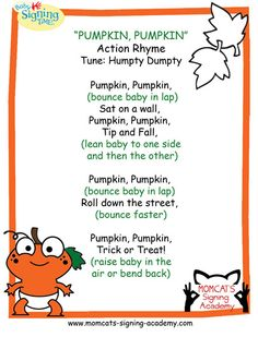 """Pumpkin, Pumpkin"" Action Rhyme, Tune: Humpty Dumpty, Ages 0-3"
