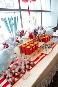 Carnival Themed Candy Buffet https://www.etsy.com/listing/153945445/12-carnival-themed-popcorn-boxes-with?