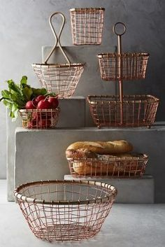 These copper wire storage baskets are definitely so 'on trend' and would be a great modern feature in a farmhouse kitchen