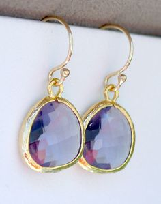 Tanzanite and Gold Drop Earrings  Dainty Purple by FiveThirty, $19.00