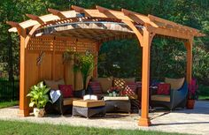 The pergola kits are the easiest and quickest way to build a garden pergola. There are lots of do it yourself pergola kits available to you so that anyone could easily put them together to construct a new structure at their backyard. Wooden Pergola Kits, Gazebo, Curved Pergola, Building A Pergola, Metal Pergola, Pergola Shade, Pergola Ideas, Cheap Pergola, Gardening