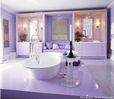 Pink + Purple Monochromatic Lavender: Jamie Drake, Hamptons Showhouse Villa Maria 2002 Money is anot Lavender Room, Lavender Bathroom, Purple Bathrooms, Dream Bathrooms, Beautiful Bathrooms, Colorful Bathroom, Bathroom Modern, Master Bathroom, Purple Interior