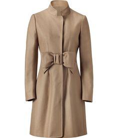 camel bow embellished long coat.
