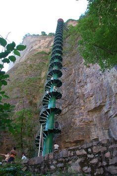 Spiral Staircase in Taihang Mountains, China.  A 300-foot (91,5m) staircase along a mountain face in the Taihang Mountains in Linzhou, China, offer the thrill of mountaineering without the danger. The hike up the stairs provides a great experience one will not easily forget, and no special gear is needed.