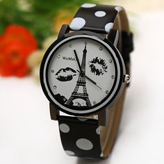 WoMaGe Quartz Watch Diamond Dots Indicate Leather Watch Band for Women... ($4.38) ❤ liked on Polyvore featuring jewelry, watches, black, leather wrist watch, leather jewelry, black watches, quartz wrist watch and black diamond watches