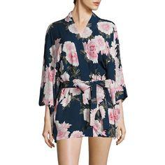Fleur du Mal Haori Kimono (11,100 MXN) ❤ liked on Polyvore featuring intimates, robes, kimono bathrobe, silk bath robes, silk robe, lingerie robe and silk lingerie