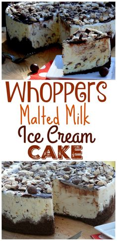 Whoppers Malted Milk Ice Cream Cake - Frozen and Fabulous - Helados Brownie Desserts, Oreo Dessert, Mini Desserts, Coconut Dessert, Ice Cream Desserts, Frozen Desserts, Ice Cream Recipes, Easy Desserts, Delicious Desserts