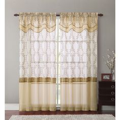 Everwood Embroidered Curtain Panel and Valance - Overstock™ Shopping - Great Deals on Victoria Classics Curtains