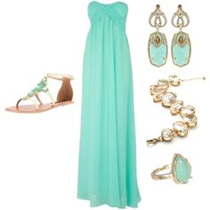 outfit: mint-green strapless crossover-top maxidress, gold / mint-green dangly earrings, gold / crystal bracelet, gold / mint-green ring, cream / mint-green jewelled sandals