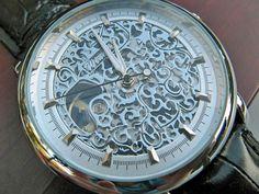Classic Silvertone Mechanical Wrist Watch with Black Leather Wristband - Unisex - Steampunk - Men - Groomsmen - Watch - Item MWA1003