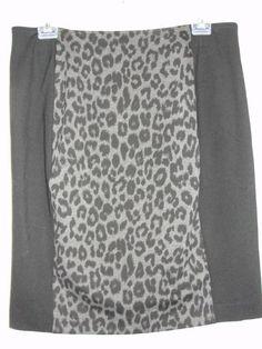 New Chicos Black Gray Animal Print Panel Ponte Royce Fashion Skirt Sz 2.5 L/XL #Chicos #StraightPencil
