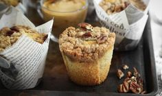 These Pecan Coffee Cake Muffins have a crunchy cinnamon streusel topping that sits atop tender buttery cake. Just as the name implies, they pair nicely with hot cups of coffee. Tulip baking papers are made from parchment paper and are taller than regular baking cups. They can be found inGet the Recipe