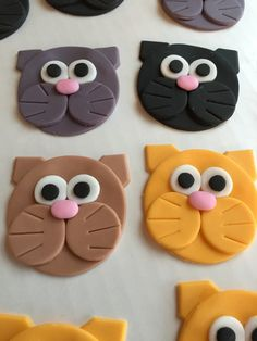 Cat Fondant Animal Cupcake Cookie Toppers by LuluBellCakes on Etsy