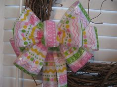 Wreath bowEaster wreath bow Spring wreath by BabesnBowsBoutique