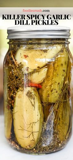 A healthy dose of fresh, peeled garlic cloves, a homemade pickling spice, and hot peppers give these spicy pickles a seriously delicious kick. Garlic Dill Pickles, Pickled Garlic, Kosher Pickles, Spicy Pickle Recipes, Pickling Spice Recipe For Dill Pickles, Canning Spicy Pickles, Best Dill Pickle Recipe, Canning Hot Peppers, Pickling Spices