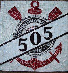 Numeral residencial em mosaico do Corinthians. Tema time de futebol