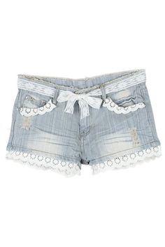 Lace Waistband Light Blue Denim Shorts  $36.99 only i want to make them myself