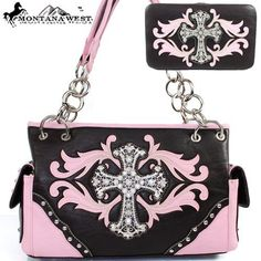 $50.99Amazon.com: Montana West Western Cow Girl Cross Rhinestone Gemstone Studded Embroidered Chain Shoulder Handbag Purse with Wallet in Pink and Coffee: Clothing
