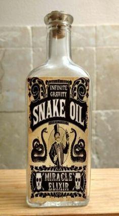 Vintage Medicine Hand Crafted Bottle, Snake Oil, Miracle Elixir | eBay Oil Bottle, Vodka Bottle, Halloween Phrases, Whiskey Label, Pick Your Poison, Medicine Bottles, Vintage Medical, Bottle Crafts, Snake