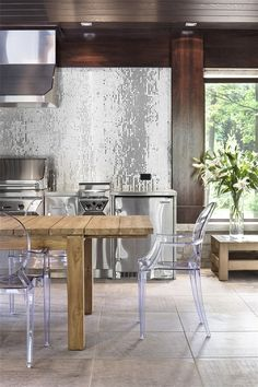 Wooden Dining Table and Acrylic Chairs - Modern Home Design - Kitchen / Bathroom and Kitchen Interior, Home Interior Design, Interior Architecture, Kitchen Decor, Eclectic Kitchen, Room Kitchen, Rustic Kitchen, Kitchen Designs, Home Design