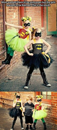 Batman and Robin costume for girls  So cute can't wait till Halloween! Journie is going to be robin for Halloween so cute!! Axel batman hunter the joker