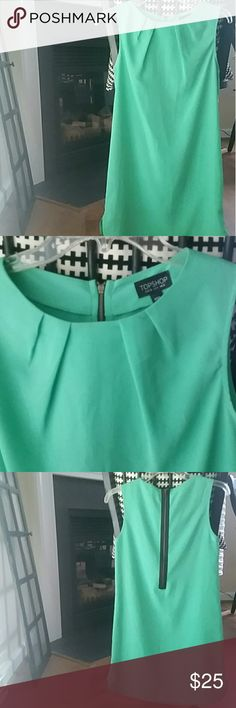 Topshop Teal Dress Wow! Amazing teal dress from Topshop. Pleats on chest and exposed zipper in back. Would be great with a pair of adorable wedges! Could be dressed up for a wedding or dressed down for a night out. 100% polyester. Topshop Dresses