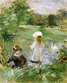 'Au bord du la' (On the edge of the lake) by Berthe Morisot, 1883