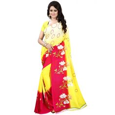 Stylish Yellow Color Premium Georgette Printed Saree at just Rs.499/- on www.vendorvilla.com. Cash on Delivery, Easy Returns, Lowest Price.