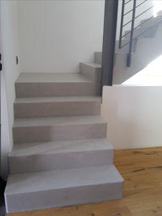 Beton Cire Beschichtung Auf Treppenstufen.