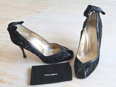 Dolce & Gabbana Black Satin and Beaded Pumps Size by LaDonnaPrive