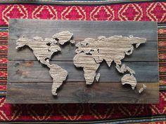 Welt Karte String Kunst von 8thAveProject auf Etsy