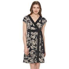Women's Dana Buchman Print Wrap Dress. Several prints XS-XXL.