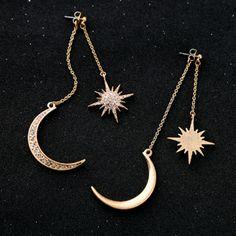 LEGENSTAR Shiny Crystal Star Moon Earrings for Women Charm Dangle Earings Pendientes Fashion Jewelry Boucle d oreille Femme 2019 Jewelry King, Moon Jewelry, Star Jewelry, Cute Jewelry, Jewelry Accessories, Gold Jewellery, Quartz Jewelry, Jewellery Designs, Pandora Jewelry