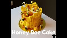 I made this Honey Bee Cake for a baby shower! To make the honeycomb on the outside, I melted chocolate and smoothed it over bubblewrap. Bee Cupcakes, Cupcake Cakes, Bee Hive Cake, Bee Birthday Cake, Bumble Bee Cake, Honeycomb Cake, Honey Cake, Cake Decorating Tips, Cute Cakes